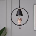 Ring and Cone Metal Pendulum Light Cartoon 1-Bulb Black/White Pendant Lighting with Boy/Girl/Sika Deer Deco