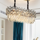 Oblong Dining Room Island Lighting Contemporary Cut Crystal 10 Heads Clear Pendant Light Fixture