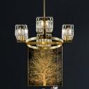 Brass Circular Flush Mount Chandelier Postmodern Clear Crystal Prism 4/6 Lights Bedroom Semi Flush Light