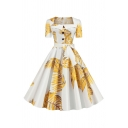 Popular Womens Leaf Pattern Short Sleeve Square Neck Buttton up Bow Tie Waist Mid Pleated Swing Dress