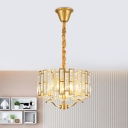Drum Hanging Light Kit Modern 3/4 Heads Crystal Down Chandelier Lighting in Gold with Bobeche, 16