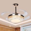 Silver Circular LED Hanging Lamp Kit Modern Crystal Rectangle Pendant Light Fixture with 4 Blades, 42