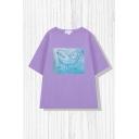 Lovely Womens Color Block Cartoon Whale Print Crew Neck Short Sleeve Relaxed Fit Tee Top