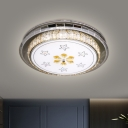 Crystal Stainless Steel Flushmount Circular Modernist LED Ceiling Flush Light with Star Pattern