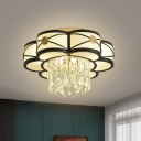Frosted Glass Flower Ceiling Flush Modern 4/10 Bulbs Living Room Flush Light in Black with Crystal Drop, 16