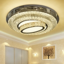 Round Living Room Ceiling Fixture Hand-Cut Crystal LED Contemporary Flushmount Lighting in Stainless-Steel