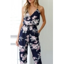 Holiday V Neck Spaghetti Straps Sleeveless Floral Printed Wide Leg Jumpsuit
