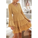 Lovely Girls Stirngy Selvedge Ruffled Trim Long Sleeve V-neck Short A-line Pleated Dress in Yellow