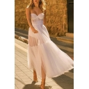 White Pretty Womens Solid Color Stringy Selvedge Backless Strapless Sleeveless Tulle Maxi Fit&Flare Tube Gown