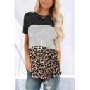 Active Modern Stylish Leopard Printing Patchwork Sequined Crew Neck Short Sleeve Relaxed Fit Tunic Tee for Womens