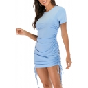 Fashionable Womens Solid Color Pleated Drawstring Ruched Short Sleeve Crew Neck Fitted Mini Dress
