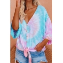 Holiday Womens Tie Dye Printed Three-quarter Sleeve Deep V-neck Button-up Tied Hem Loose Fit T Shirt