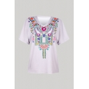Ethnic Flower Printed Short Sleeve V-neck Relaxed Fit Tee Top for Girls