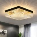 Minimalist Square Flush Ceiling Light Crystal Prism LED Flush Mount Lighting in Black