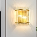 Postmodern Cylindrical Flush Mount 2-Bulb Clear Ribbed Crystal Wall Light Sconce in Gold