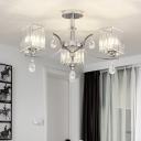 Cuboid Semi Flush Mount Chandelier Contemporary Clear Crystal 3/6 Bulbs Sitting Room Ceiling Lighting in Chrome