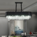 Contemporary 6/8 Lights Island Lamp with Crystal Prisms Shade Black Ellipse Hanging Lamp Kit for Restaurant