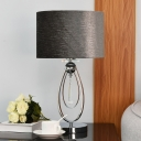 Fabric Drum Shade Table Lamp Contemporary Single Bulb Black Nightstand Light with Crystal Drop for Bedroom