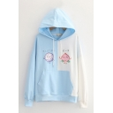 Trendy Colorblock Peach Graphic Long Sleeve Drawstring Pouch Pocket Loose Fit Hoodie