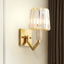 Contemporary 1-Light Wall Sconce Lighting with Prismatic Optical Crystal Shade Gold Tapered Wall Mount Lamp
