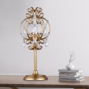 White/Gold 1 Bulb Table Lighting Vintage Crystal Swag Candle Bedroom Desk Lamp with Gourd Frame