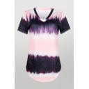 Unique Tie Dye Striped Printed Curved Hem V Neck Short Sleeve Loose Fit Tunic Purple Tee for Women