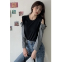 Womens Fashion Colorblock Cold Shoulder Long Sleeve Relaxed Fit Cropped Hoodie