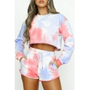 Colorful Tie Dye Print Long Sleeve Top and Shorts Two Pieces Tracksuit
