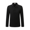 New Stylish Whole Colored Long Sleeve Lapel Collar Regular Fit Polo Shirt for Men