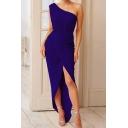 Banquet Ladies Blue One Shoulder Split Front Irregular Hem Bodycon Evening Dress