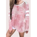 Cool Girls Tie Dye Print Contrast Stitching Long Sleeve Round Neck Plus Sized Pullover Hoodie