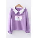 Letter Good Luck Rabbit Graphic Long Sleeve Contrasted Peter Pan Collar Relaxed Adorable Sweatshirt for Girls