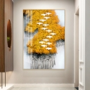 Red/Yellow/Blue Rectangle Wall Mural Lamp Asian Style Metal Forest and Birds LED Sconce Light Fixture