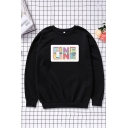 Cool Boys Letter Fine Line Printed Long Sleeve Crew-neck Loose Fit Pullover Sweatshirt in Black