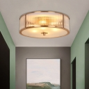 Colonial Round Ceiling Lamp 3-Head White Glass Flush Mount Fixture with Circular Diffuser in Brass