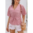 Pink Simple Womens Solid Color Drawstring Waist Ruched V Neck Short Sleeve Fitted Tee Top