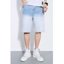 Chic Jean Shorts Ombre Pattern Pocket Zipper Mid Rise Regular Fitted Jean Shorts for Men