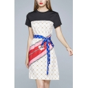 Formal Ladies Short Sleeve Crew Neck Checkered Print Contrasted Bow Tied Waist Short A-line Dress in White
