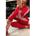 Sport Womens Striped Long Sleeve Crew Neck Relaxed Sweatshirt & Ankle Skinny Pants Co-ords in Red