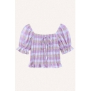 Pretty Plaid Printed Short Sleeve Off the Shoulder Pintuck Bow Tied Stringy Selvedge Slim Fit Cropped Blouse Top in Purple
