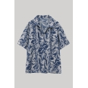 Vintage Girls Allover Abstract Printed Short Sleeve Spread Collar Button-up Loose Fit Shirt Top