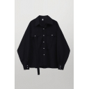 Casual Womens Black Long Sleeve Spread Collar Button up Flap Pockets Oversize Shirt Top