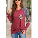 Trendy Womens Stripe Leopard Printed Long Sleeve Crew Neck Twist Hem Relaxed Tee Top