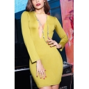 Formal Womens Solid Color Long Sleeve Plunge Neck Mini Tight Dress