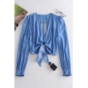 Womens Blue Solid Twist Front Cut Out Pleated Stringy Selvedge Long Puff Sleeve Deep V Neck Slim Fitted Crop Blouse Top