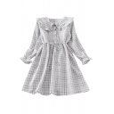 Pretty Girls Plaid Print Biw Tie Front Button Up Stringy Selvedge Peter Pan Collar Long Puff Sleeve Short A-Line Dress