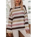 Trendy Colorful Stripe Printed Long Sleeve Crew Neck Loose Fit T Shirt for Women