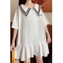 Sweet Girls Hot Fashion White Button Down Puff Sleeve Ruffle Hem Mini Sailor Dress
