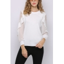 Pretty Sheer Mesh Patchwork Ruffled Round Neck Short Sleeve Regular Fitted Pullover Knitwear Top for Women