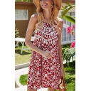 Trendy Womens Floral Printed Backless Tassel Square Neck Spaghetti Straps Sleeveless Mini Swing Slip Dress